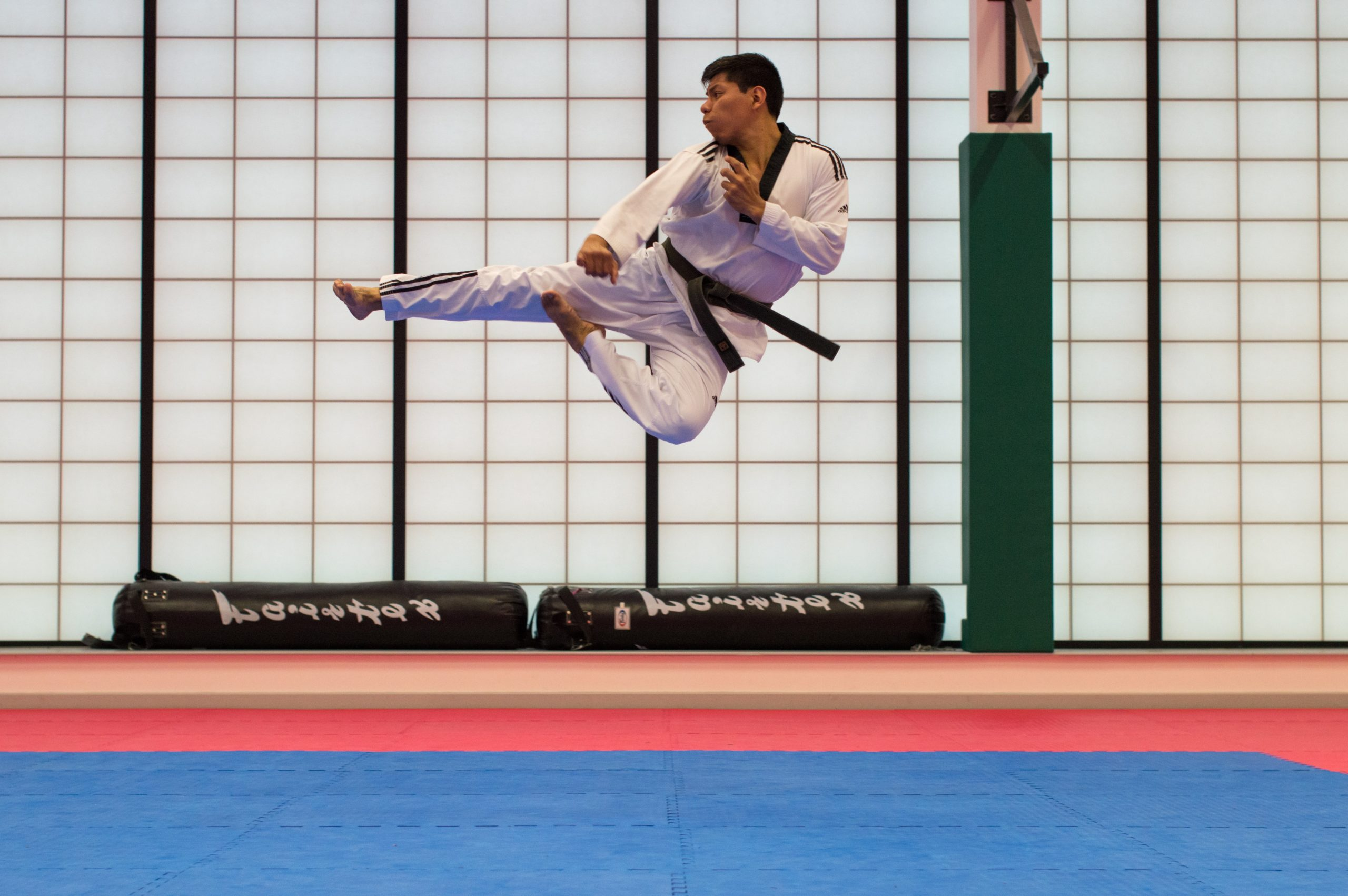 A martial arts student jumpkicking the air.