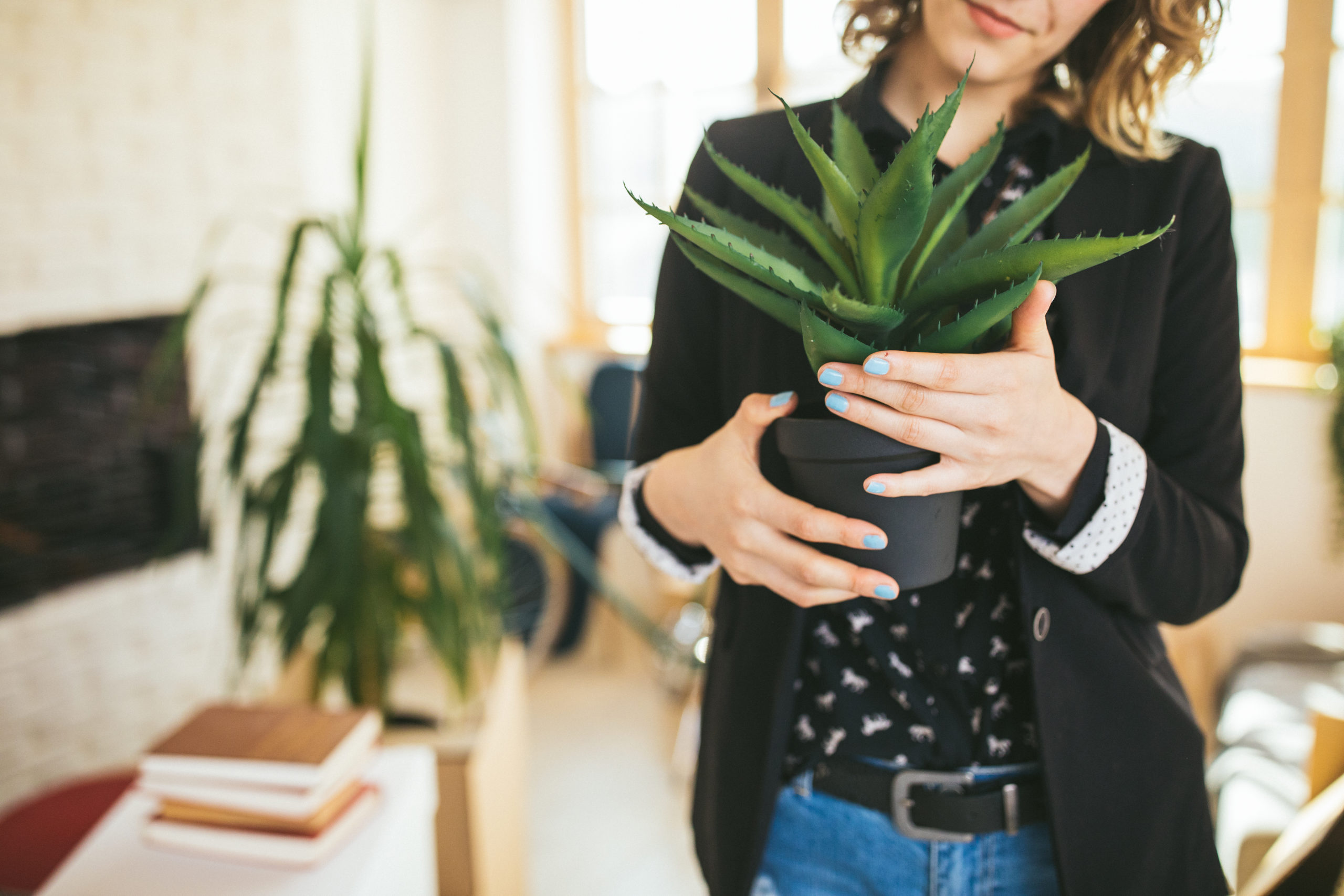 A woman carrying a potted plant inside her apartment.
